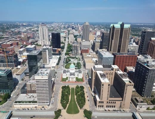 Old Courthouse, view from Gateway Arch, St Louis